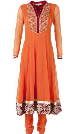Orange zari embroidered anarkali set available only at Pernia's Pop-Up Shop.