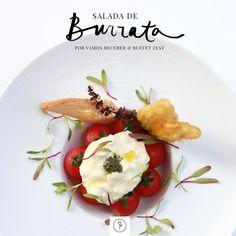 Vamos Receber: Salada de burrata com tomates e flores (Foto: Rogério Voltan; Arte: Karen Hofstetter)