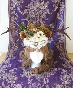 Goddess Headdress Antler Rabbit Fur Brass Chain by TheOddCog