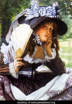 Young Lady with a Fan - James Jacques Joseph Tissot - www.jamestissot.org