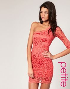ASOS PETITE Lace One Sleeve Body-Conscious Dress