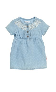 Noppies #jeans #dress Kim is made of 100% cotton and has #lace trims. The dress has a high elastic waist and subtle all-over dotted print make it extra #cute. #Sweet and #fashionable. #noppies #kidsfashion #girls #coolgirls #ss15 #summer #spring www.noppies.com