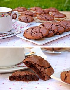 Galletas de brownie-yummy looks like the northstar truffle cookie Brownie Recipes, Cookie Recipes, Dessert Recipes, Dinner Recipes, Just Desserts, Delicious Desserts, Yummy Food, Brownies, Cupcake Cookies