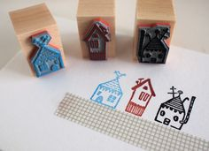 daheim -  set of 3 rubberstamps - by SiebenMorgen.