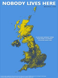 Nobody Lives Here: Map of the United Kingdom showing areas where population equals zero Map Of Britain, Kingdom Of Great Britain, Geography Map, World Geography, Life Map, Historical Maps, Old Maps, British History, History Facts