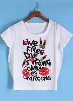 White Short Sleeve Lipstick Print T-Shirt 18.50