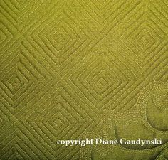 """Diane Gaudynski """"A New Tradition in Quilting"""" Here is another example of a large marked on-point grid, quilted, and then one by one each square filled in with a log cabin spiral. Instructions follow"""