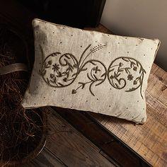 Vine Square Metallic Pillow In Silk