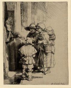 Rembrandt Harmensz. van Rijn, Bettlerfamilie an der Haustür, 1648 © Albertina, Wien