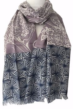 LADIES LILAC MAUVE PURPLE ABSTRACT  HEART PRINT LIGHTWEIGHT SCARF WRAP NEW IN
