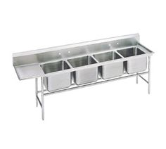 "Advance Tabco Regaline Sink four Cmpt. 20"" - 93-24-80-18L    Regaline Sink, four compartment, w/left-hand drainboard, 20"" front-to-back x 20"" W compartment, 12"" deep, with 8"" high splash, s/s open frame base, side crossrails, 16/304 stainless steel, 18"" drainboard, overall 27"" F/B x 111"" L/R"