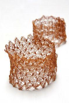 very fine copper crochet