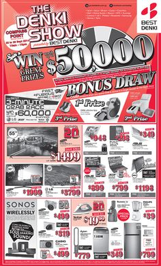 Straits Times Ad - 22 Sept '14 The Denki Show @ Compass Point - Spin & Win up to $50,000 worth of prizes  (Spend min. $200 in single receipt = 1 Spin Chance) - Osim Bonus Draw  (Every $100 spend on COM Atrium = 1 Lucky Draw Coupon) - All products are on first come first serve basis - Certain product are of limited sets daily  Click to view detail:http://bit.ly/1tRS5UY
