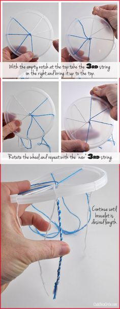 How to make a friendship bracelet with a plastic lid
