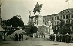 1915 , Wizyta cesarza Wilhelma II pod pomnikiem Wilhelma I we Wrocławiu.