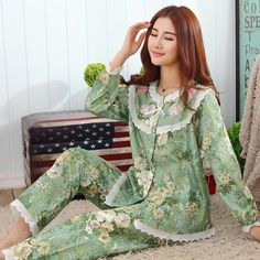 Europe America Style 100% Cotton Sleepwear Pajamas Set Short Sleeve Length Pants Lounge Set Summer Green Lace Pajamas Nightgowns