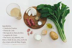 Ingredientes:  Receta de Crema de cebolla de Fuentes con nido de borrajas y tierra de longaniza de Graus. http://www.recetasoidococina.es/crema-de-cebolla/