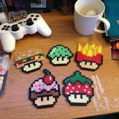 Mario mushrooms creations hama perler beads by marweezie