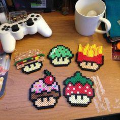 Mario mushrooms creations hama perler beads by marweezie