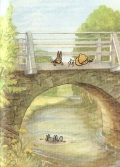 A Child Asks . Pooh and Rabbit looking over a bridge watching Eeyore floating down the river.Pooh and Rabbit looking over a bridge watching Eeyore floating down the river. Illustrators, Winnie The Pooh Friends, Illustration, Hundred Acre Woods, Disney Art, Art, Pictures, Pooh, Fairy Tales