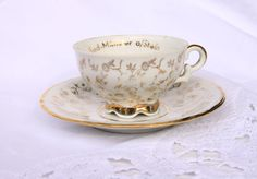 Vintage German tea cup and saucer, real gold trim and deco, vintage porcelain