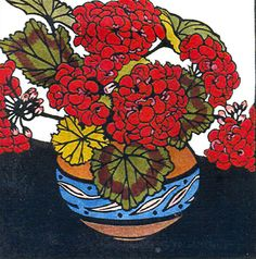 Geraniums by Kit Hiller - printmaker - Tasmanian artist