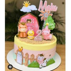 Farm Birthday Cakes, Farm Animal Birthday, 1st Birthday Decorations, Cowgirl Birthday, Girl 2nd Birthday, Birthday Cake Toppers, 2nd Birthday Parties, Diy Cake Topper, Farm Cake