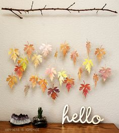 Watercolor Paper Leaf & Branch Mobile made by Happiness is Homemade featuring Sizzix Big Shot and dies. Branch Mobile, Theme Nature, Paper Leaves, Autumn Crafts, Ceiling Decor, Ceiling Hanging, Easy Home Decor, Fall Diy, Hanging Art