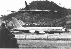 Some major air assets were available to rascal teams. A B52 lands at U-Tapao as a KC-135 taxis for takeoff. (Courtesy of Utapao Alumni Association)
