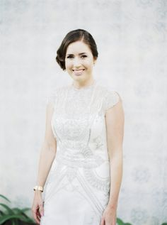 Vintage-inspired silver beaded wedding gown: http://www.stylemepretty.com/2016/03/08/relaxed-elegant-thailand-destination-wedding/ | Photography: Ana Lui - http://www.analuiphotography.com/