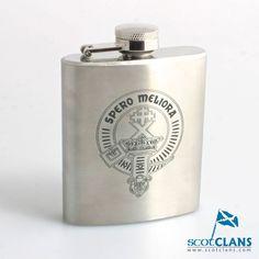 Moffat Clan Crest Hip Flask