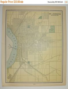 St Joseph MO Map Missouri Vintage Map Council Bluffs Iowa 1897 City Street Map, Genealogy Research, Unique Gift for Couple Gift Under 25 available from OldMapsandPrints.Etsy.com #CouncilBluffsIowa #StJosephMissouri