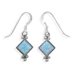 Diamond Shape Synthetic Blue Opal French Wire Earrings. 6mm diamond shape synthetic blue opal oxidized french wire earrings. .925 Sterling Silver