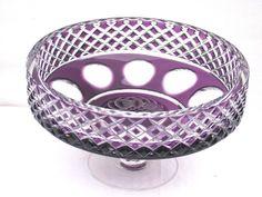 Vintage Purple Bohemian Cut Glass Fruit Bowl