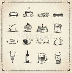 Food vintage icon set - Royalty Free Stock Vector Art Illustration