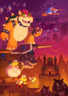 Bowser and his Koopa Troop in Dark Land (awesome) fan art