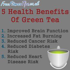 5 Health Benefits Of Green Tea  http://www.pinterest.com/freefitnesstips/
