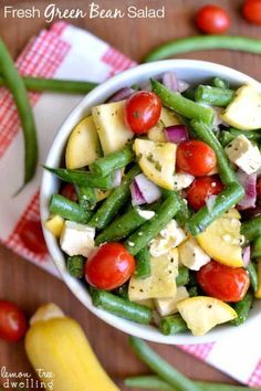 Fresh Green Bean Salad recipe with yellow squash, grape tomatoes, red onions, and feta cheese in a light lemon vinaigrette dressing. Easy Summer Salads, Summer Salad Recipes, Healthy Salads, Healthy Eating, Healthy Recipes, Healthy Dishes, Dip Recipes, Healthy Food, Recipies