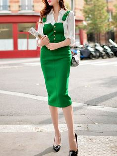 Buttoned Overall Midi Skirt