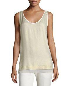 bc535f78ddb381 Layered Metallic Silk Tank Cream Tops, Metallic Top, Simple Wardrobe,  Workout Tank Tops