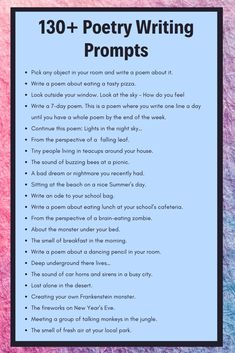130+ Poetry Writing Prompts | Poetry Prompts & Ideas | Imagine Forest
