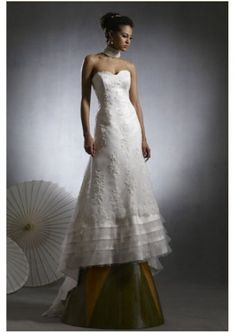 Inexpensive Casrin Bridal The Steven Birnbaum A-line Lace Up Collection with Strapless Sweetheart Neckline in Fabric Tulle Priscilla