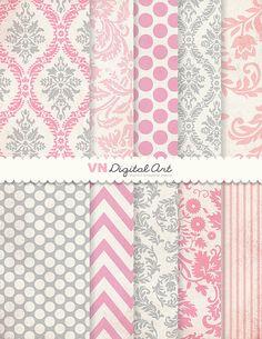 "Digital Paper, Instant Download, Damask Basic Textured Digital Paper Pack (8.5x11"") -- Instant Download -- 10 Digital papers -- 243"