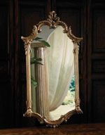Elegant Mirror In Antiqued Gold Metal Leaf Finish with C-Scroll Motif by La Barge