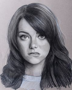 Emma Stone by Justin Maas Emma Stone, Woman Sketch, Girl Sketch, Celebrity Drawings, Celebrity Portraits, Realistic Drawings, Cool Drawings, Simple Drawings, Marvel Drawings