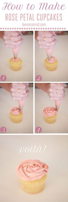 How to Make Rose Cupcakes in 4 Easy Steps {this is so easy and looks SO pretty!}
