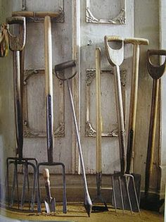 antique English garden tools.....  I have most of these at 1877 House! Love them!!