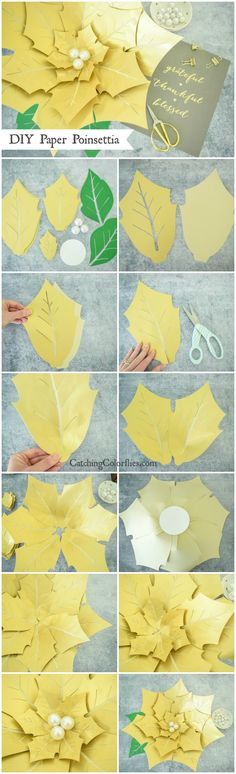 Poinsettia Christmas flower template and tutorial. Giant paper flower templates. Large poinsettia template.