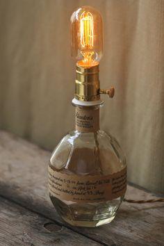 Blanton's Bourbon Whiskey Bottle Lamp by GraffitiGlass on Etsy