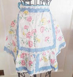Adorable C. 1940's Apron Made from Floral Pattern